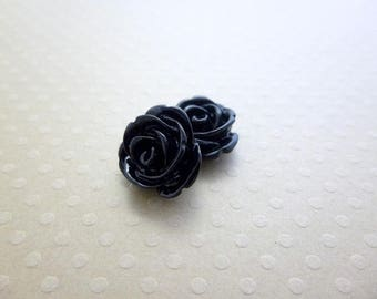 Set of 2 roses in resin black 13 mm - en-0832