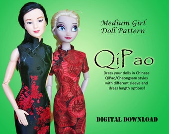 "Easy QiPao Cheongsam Chinese Dress Clothes pattern for Barbie, Princess, and other 11.5"" Medium Fashion Dolls"