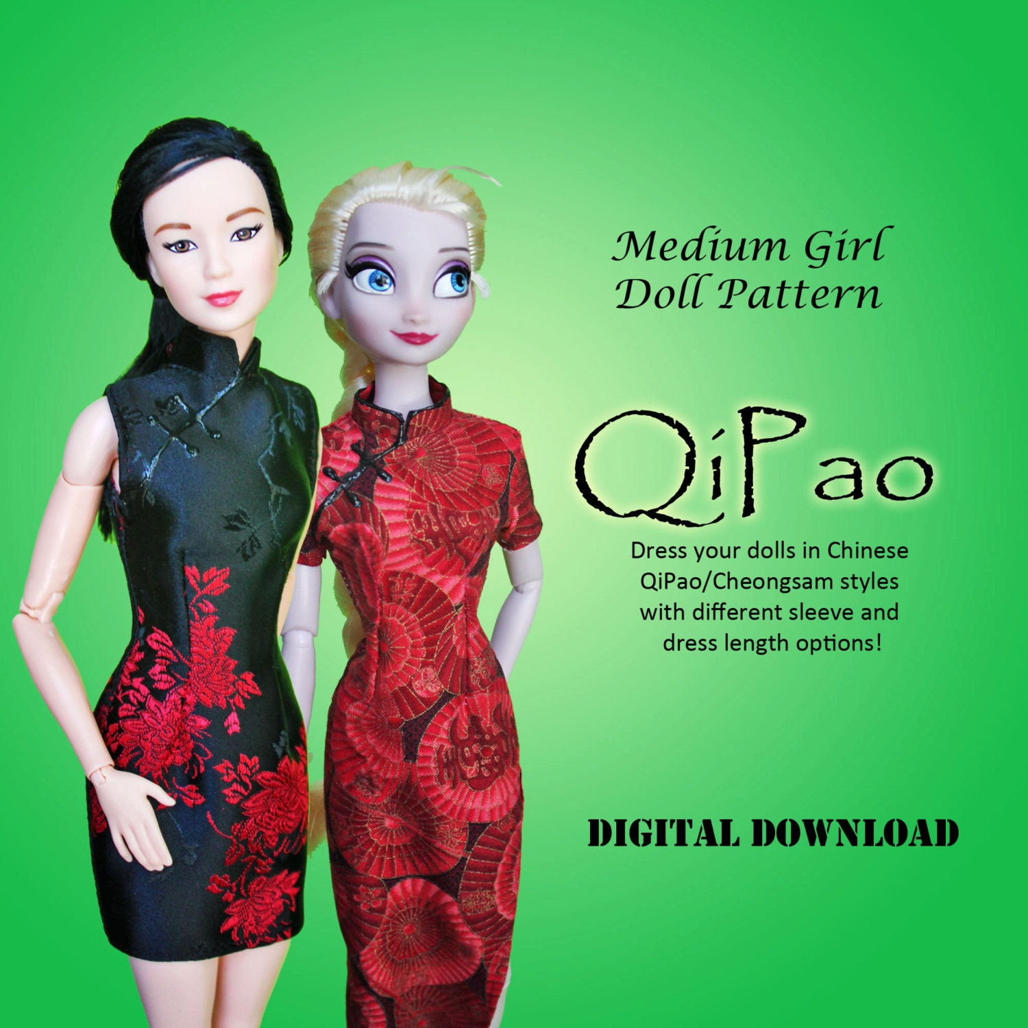 Easy qipao cheongsam chinese dress clothes pattern for barbie zoom jeuxipadfo Image collections