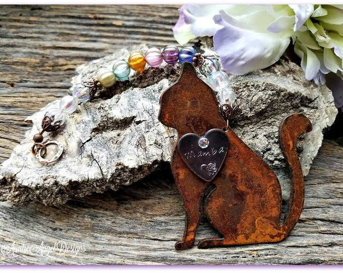 Featured listing image: Rainbow Bridge Cat Ornament, Cat Memorial Gift, Cat Remembrance Gift, Rainbow Kitty Custom Gift, Loss of Cat, Death of Kitty, Cat Sympathy