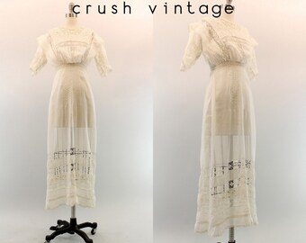 Edwardian Wedding Dress XXS / 1900s Antique Lace Cotton Gown / The Way You Love Me Dress