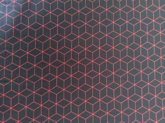 Japanese printed cotton poplin sold per 25cm, red/black Japanese print no 15