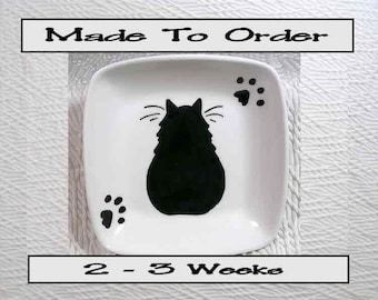 Black Cat On A Square Clay Dish / Bowl Ceramic Handmade To Order by Grace M Smith