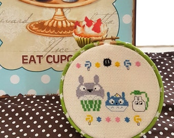 Totoro Cupcakes 5 inch 13cm Cross Stitch Hoop-Ready to Hang-Anime Fan Gifts- Otaku Japanophile-Kitchen Decor-Hoop Art-Wall Art-Geekery Gifts