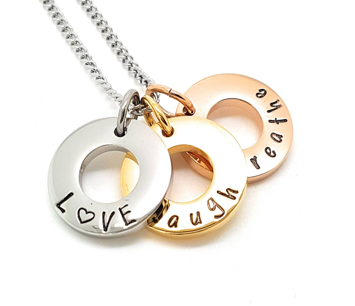 Hand stamped tripple circle pendants live laugh love customise hand stamped tripple circle pendants live laugh love customise personal family names necklace children jewellery family necklace aloadofball Gallery