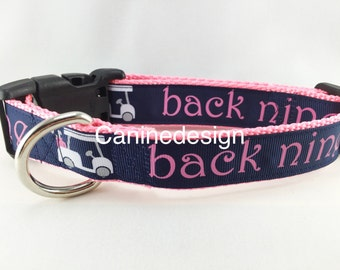 Dog Collar, Golf,  adjustable, 1 inch, small, 11-14 inches, heavy nylon, quick release buckle