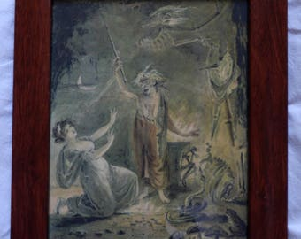 Witches in old wooden frame