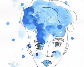 Celine Watercolour and pen on watercolour paper