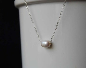 Classic Freshwater Pearl Necklace, Floating Pearl Necklace,  Sterling Silver Pearl Necklace, Bridesmaid Necklace or Gift