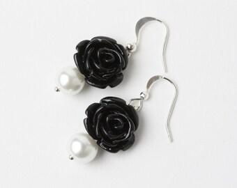 Black rose earrings, black and white wedding earrings, black bridesmaid earrings, gift under 15, bridesmaid gift, bridal favors, black rose