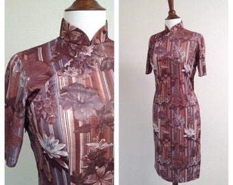 Vintage brown floral qipao size S-M