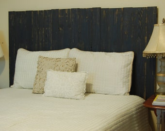 Black Weathered Look - Twin Hanger Headboard with Vertical Boards. Mounts on wall. Adjust height to your convenience. Easy installation.