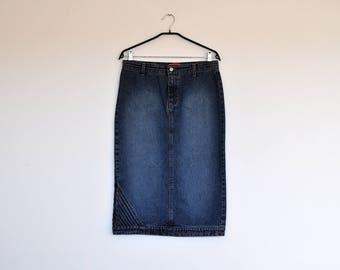 Vintage High Waisted Jean Skirt Blue Distressed Denim Midi Pencil Skirt