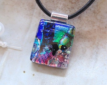 Petite, Blue Necklace, Green, Orange, Dichroic Glass Pendant, Fused Glass Jewelry, Necklace, One of a Kind, A1