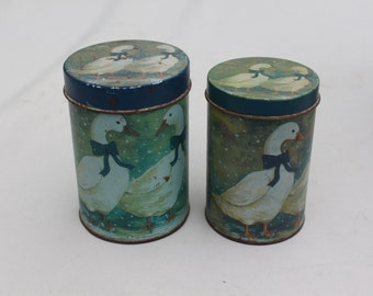 Decorative Nesting Tins - Geese in Snow - Set of Two  Holiday Special
