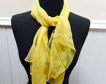 Vintage 1960s Lemon Yellow Sheer Chiffon Scarf