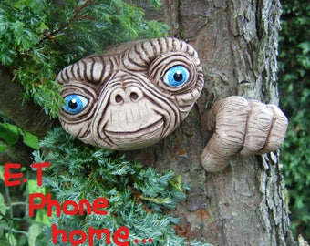 E.T Tree Face.  gift idea. Outdoor sculptures, statues, garden ornaments. Garden decorations. Tree decorations. Yard art. faces.