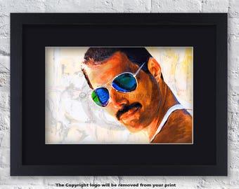 Freddie Mercury - Sunglasses - Mounted & Framed Art Print