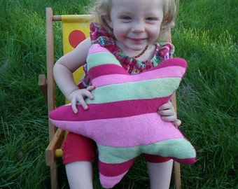 Recycled Fleece Striped Star Pillow - Pink and Green Throw Pillow