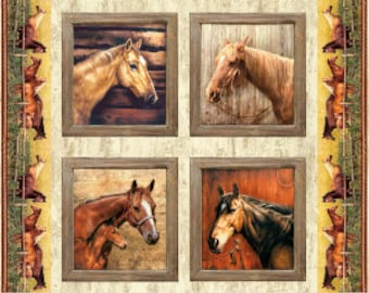 """Hold you Horses,Pillow Panel earth tones,Penny Rose 36x45"""""""