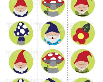INSTANT DOWNLOAD - PRINTABLE Gnome Garden Party Rounds - Assorted Gnome Cupcake Toppers by The Birthday House