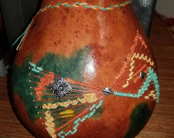 Woven Hard Shell Rust and Turquoise Gourd