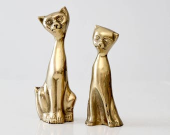 mid-century brass cat figurines, brass cat statues - a pair