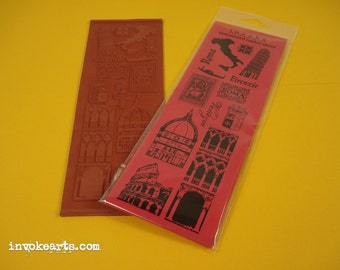 Elementi Italia Italy Travel /  Invoke Arts Collage Rubber Stamps / Unmounted Stamp Set