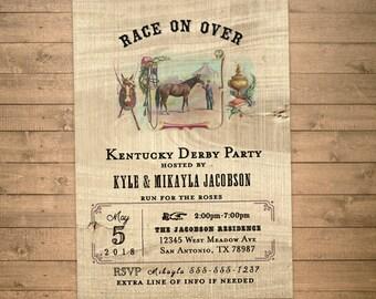 kentucky derby invitations, derby party invites, horse racing, vintage horse and jockey, printable JPG or PDF digital file