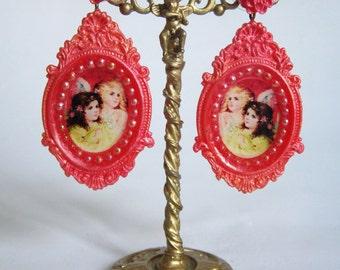 cherub earrings angel earrings celestial jewelry pink cherub heaven extra long clip on statement jewelry beautiful vintage big  vintage