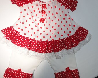 BABY GIRL Valentine Outfit-Red and White Polka Dots -Peasant Top with Pants - Ruffles 3-6 months One of a Kind Handmade