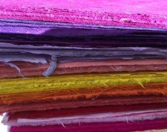 Assorted Warm Colored Lokta Paper Red Magenta Pink Orange Yellow Purple Handmade - 5-Piece Assortment Ebru Paper Marbleizing