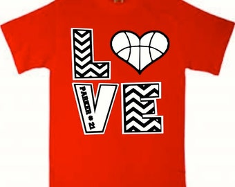 Personalized Basketball Love Shirt with Player's Name and Number, Basketball Shirt, Chevron Basketball Shirt