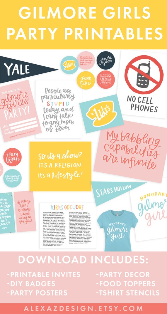 Gilmore Girls Party Printable Pack Gilmore Girls Quotes