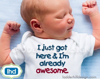 Baby Bib Embroidery Design - New Baby Embroidery - Newborn - I Just Got Here and I'm Already Awesome -- boy or girl embroidery design s018