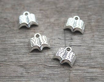 lot 5 charms in Tibetan Silver Book 12 x 11 mm