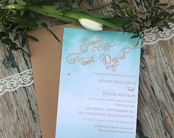 Ombre Wedding Invitations Aqua and Gold wedding invites, beach wedding, destination wedding , romantic wedding, destination wedding, mint