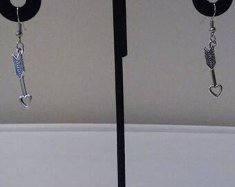 Tibetan Silver Arrow with Heart Earrings or Necklace
