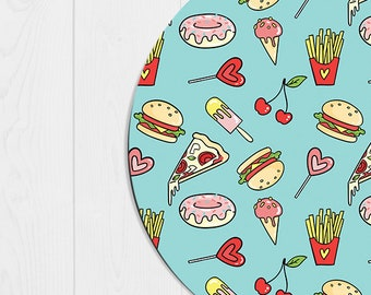 Mouse Pad Funny Doughnut Mousepad Emoji Pizza Coworker Gift Office Supplies Office Decor Office Desk Accessories Cubicle Decor Blue