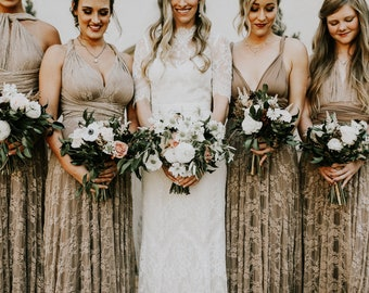 Antique Tea- Newport Coast Mocha with Beige Lace- Vintage Style Octopus Infinity Wrap Dress- Wedding Gown, Bridesmaids, Maternity, Etc.