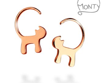 Cats - Rose Gold Plated Sterling Silver Earrings