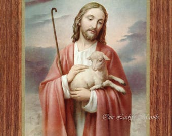 "Jesus, The Good Shepherd  - 7"" x 9"" Unframed Vintage Catholic Print Picture from Italy"