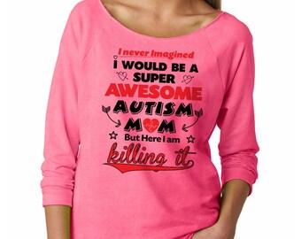 Autism Mom T-Shirt French Terry 3/4 Sleeve Raglan Shirt