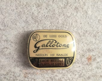 Antique Gramophone Phonograph  Rare Needles In Tin Box - Gallotone