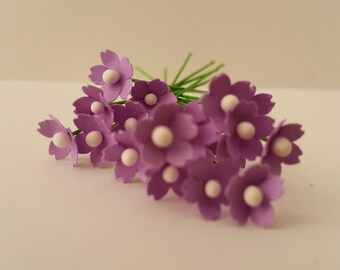 100 tiny lilac artificial flowers / 5mm paper flowers