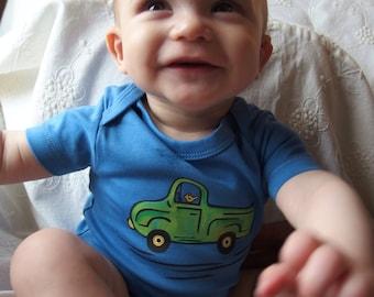 Truck/ pick-up truck/ old fashioned/ Baby Bodysuit/ Organic Cotton/ baby shower/ boy bodysuit blue