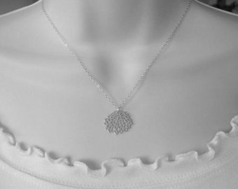 Chrysanthemum Flower Necklace in Sterling Silver Chain