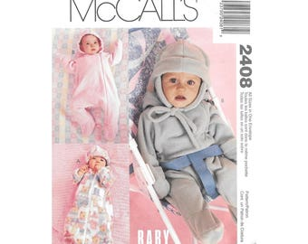 Baby Infant Bunting and Ear Flap Hat Sewing Pattern Fleece McCalls 2408
