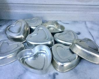 Set of Eight Vintage Baking Molds /   Heart Baking Molds /Vintage Jello Molds / Vintage Aluminum Molds