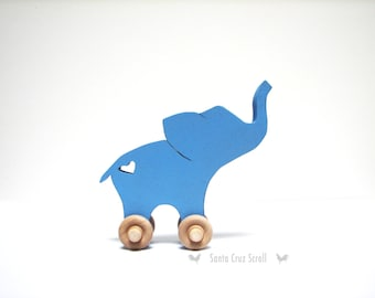 Baby Ellie-Elephant Push Toy-Wooden Toy-Scroll Saw Woodwork-Elephant Decor-Wood Toy Animals-Kids Toys-Nursery Decor-Push Toy-Room Decor